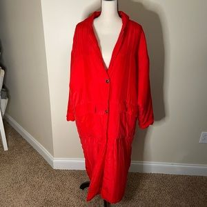 Express red puffer trench coat size S